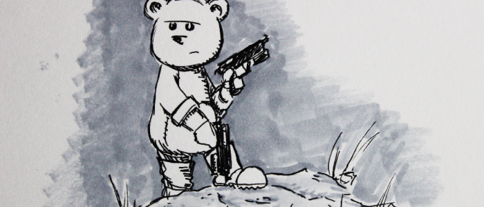 Illustration of a teddy bear posing with weapons.